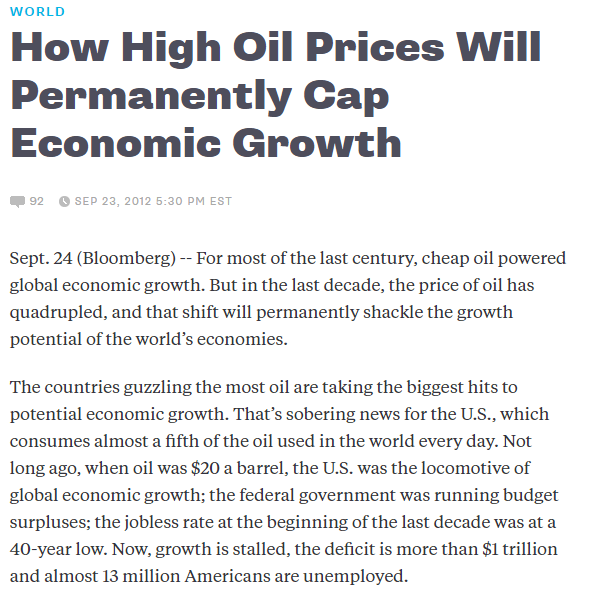 How high oil prices will permanently cap economic growth
